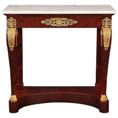 French Early 19th Century First Empire Period Mahogany and Ormolu Console