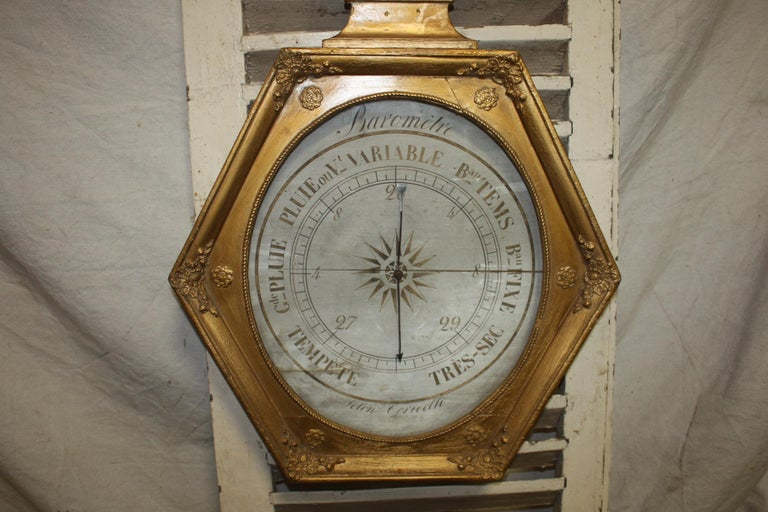 French Early 19th Century Gilt Barometer In Good Condition For Sale In Atlanta, GA