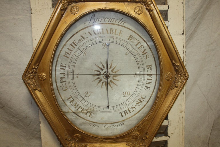 Giltwood French Early 19th Century Gilt Barometer For Sale