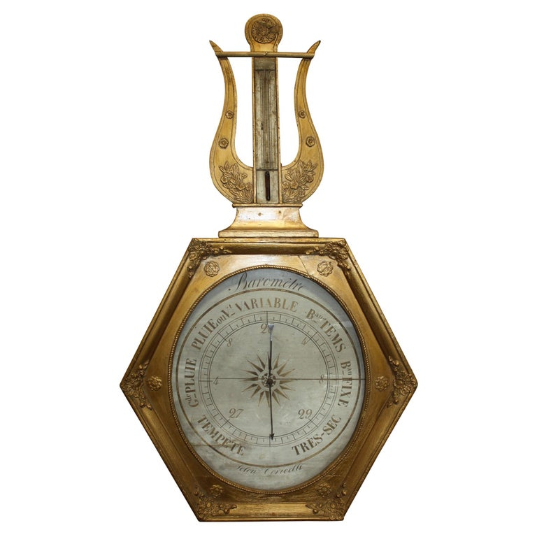 French Early 19th Century Gilt Barometer For Sale