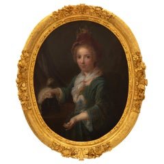 French Early 19th Century Giltwood and Oil on Canvas Portrait of a Young Girl