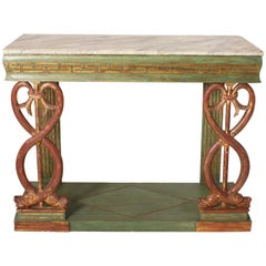 French Early 19th Century Hand Painted Neoclassical Console with Faux Marbre
