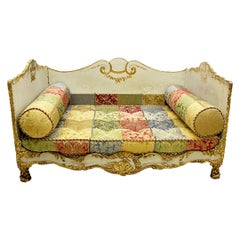 French Early 19th Century Large Impressive Gilt Wooden Directoire, Daybed