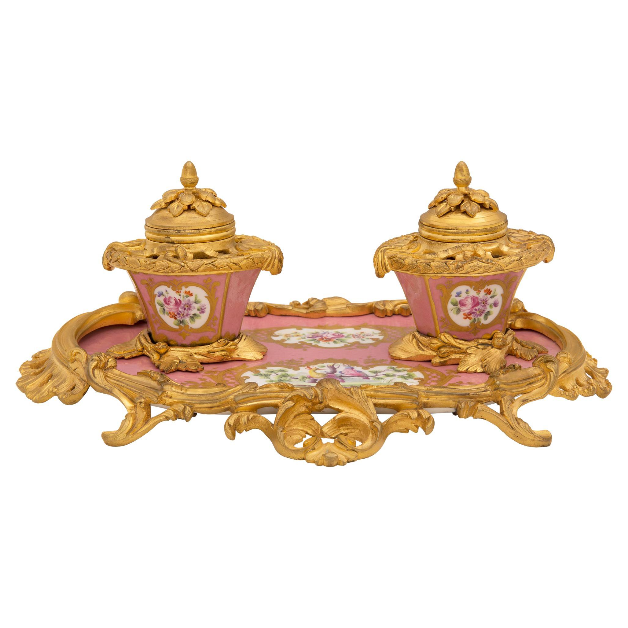 French Early 19th Century Louis XV St. Sèvres Porcelain and Ormolu Inkwell, Sign