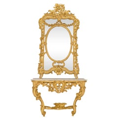 French Early 19th Century Louis XV Style Console and Matching Mirror