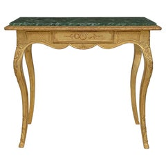 French Early 19th Century Louis XV Style Giltwood and Marble Rectangular Table