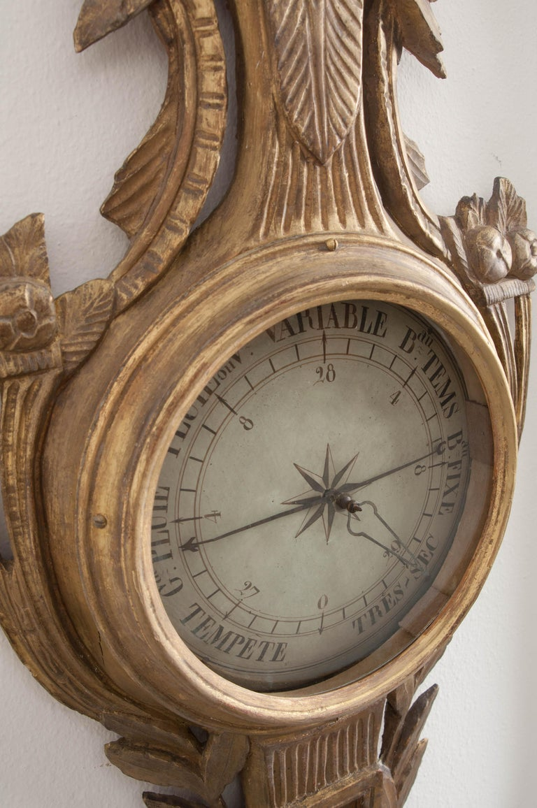 French Early 19th Century Louis XVI Gold Gilt Barometer For Sale 5