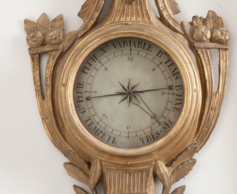Hand-Carved French Early 19th Century Louis XVI Gold Gilt Barometer For Sale