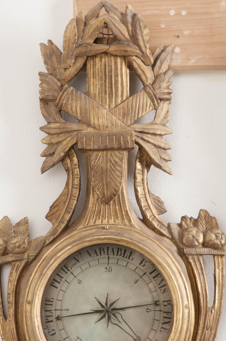 French Early 19th Century Louis XVI Gold Gilt Barometer In Good Condition For Sale In Baton Rouge, LA