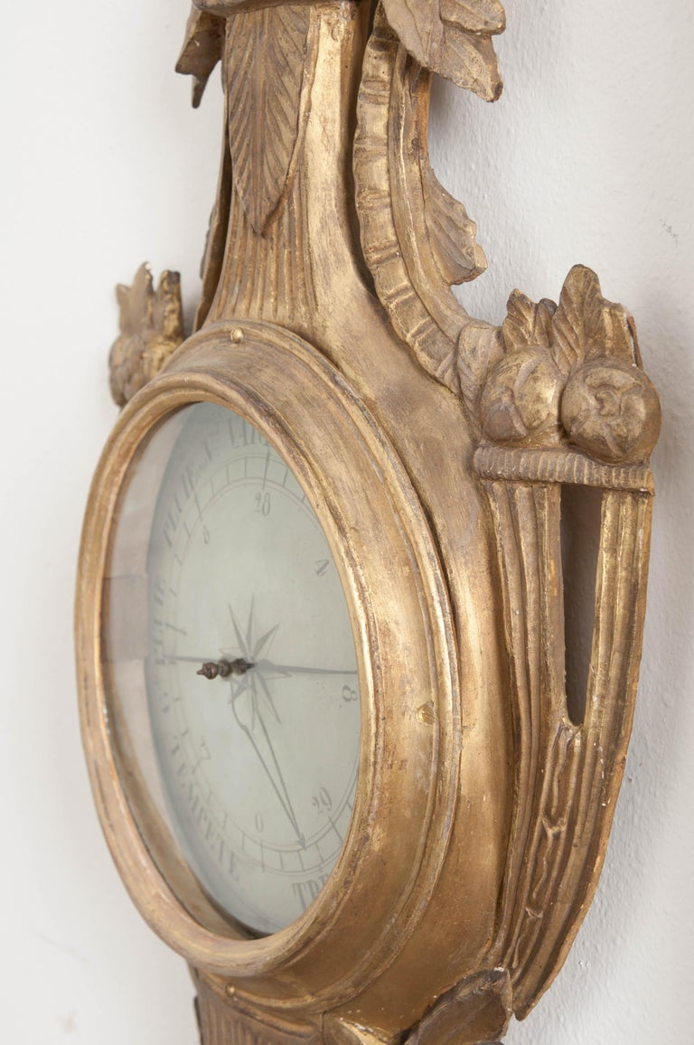 French Early 19th Century Louis XVI Gold Gilt Barometer For Sale 2