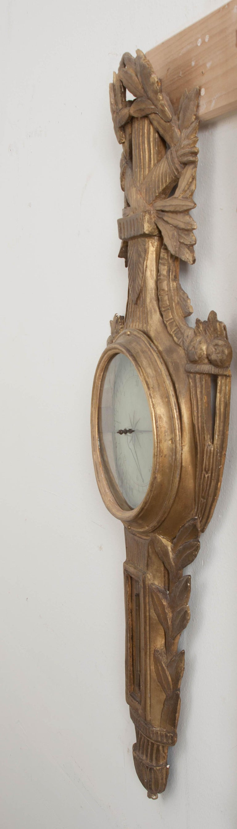 French Early 19th Century Louis XVI Gold Gilt Barometer For Sale 3