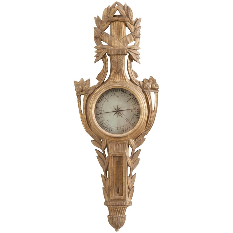 French Early 19th Century Louis XVI Gold Gilt Barometer For Sale