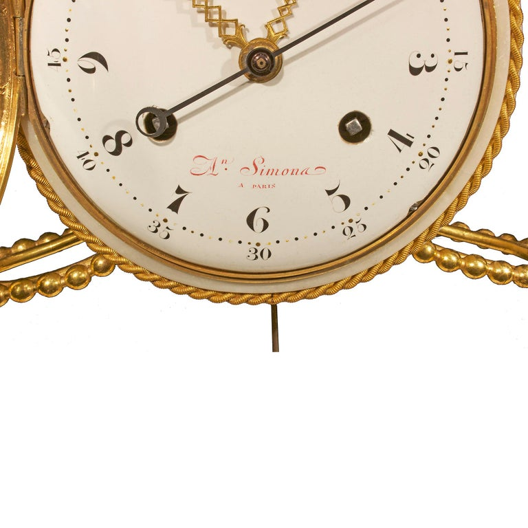 19th Century French early 19th century Louis XVI period  clock, signed Simona à Paris For Sale