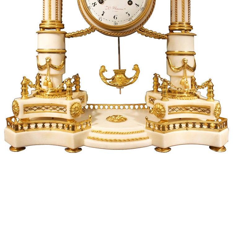 Ormolu French early 19th century Louis XVI period  clock, signed Simona à Paris For Sale