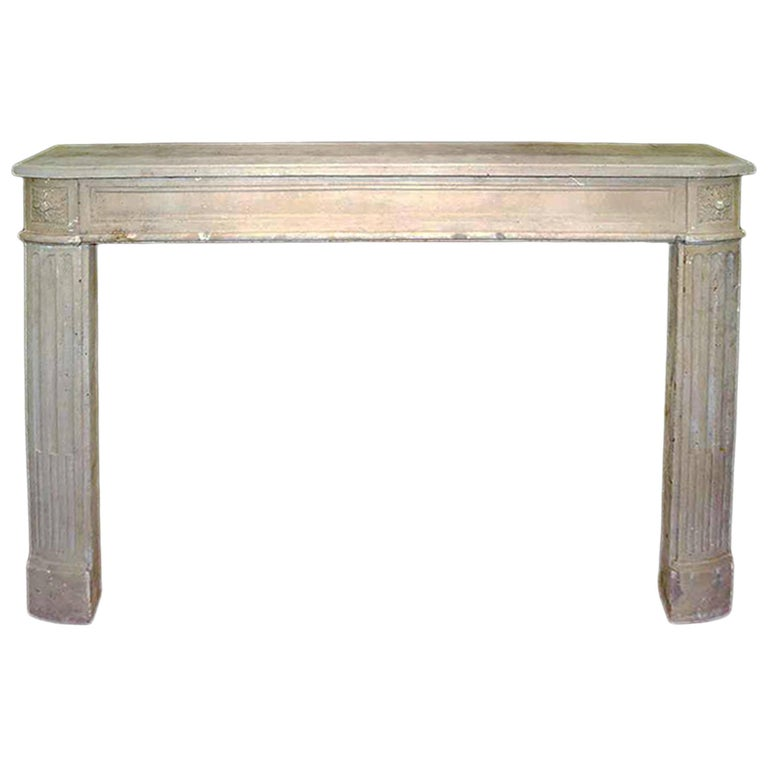 French Early 19th Century Louis XVI Style Limestone Fireplace Mantel For Sale