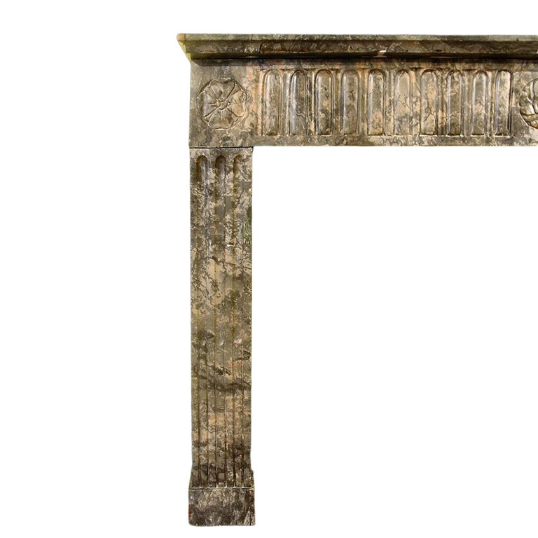 French Early 19th Century Louis XVI Style Marble Mantel In Excellent Condition For Sale In West Palm Beach, FL