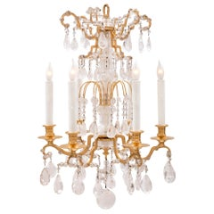 French Early 19th Century Louis XVI St. Ormolu and Rock Crystal Chandelier