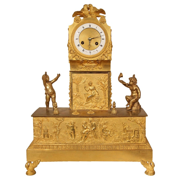 French Early 19th Century Louis XVI St. Ormolu Mantel Clock For Sale