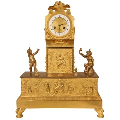 French Early 19th Century Louis XVI Style Ormolu Mantel Clock
