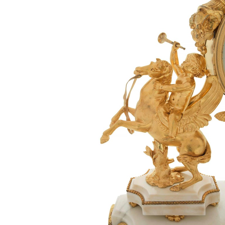 French Early 19th Century Louis XVI Style Ormolu, Marble and Giltwood Clock For Sale 1