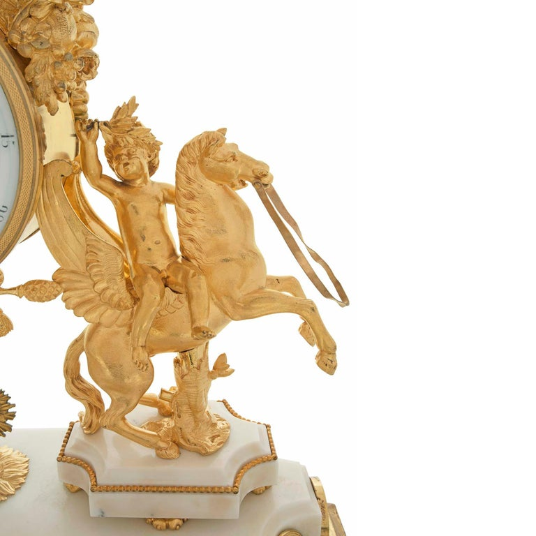 French Early 19th Century Louis XVI Style Ormolu, Marble and Giltwood Clock For Sale 2