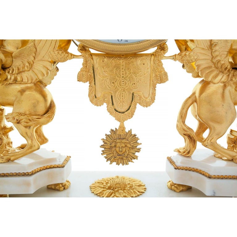 French Early 19th Century Louis XVI Style Ormolu, Marble and Giltwood Clock For Sale 3