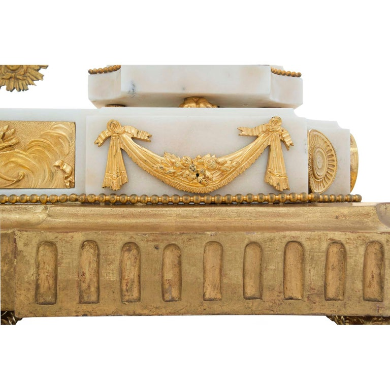 French Early 19th Century Louis XVI Style Ormolu, Marble and Giltwood Clock For Sale 4