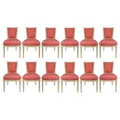 French Early 19th Century Louis XVI Style Set of Twelve Patinated Dining Chairs