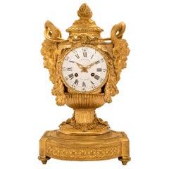 French Early 19th Century Louis XVI Style Ormolu Clock, 'signed Lepaute Paris'