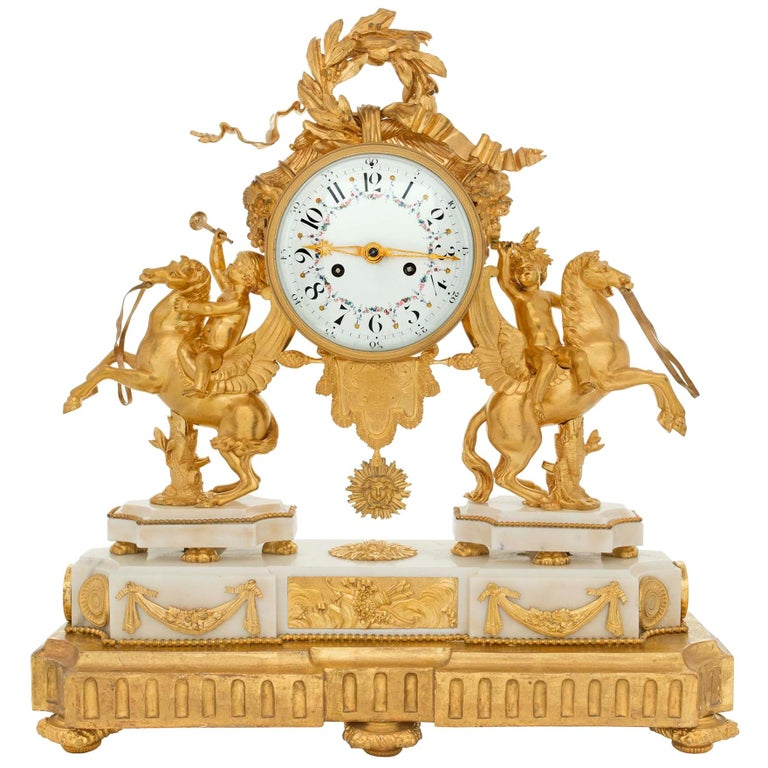 French Early 19th Century Louis XVI Style Ormolu, Marble and Giltwood Clock For Sale