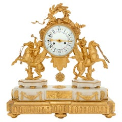 French Early 19th Century Louis XVI Style Ormolu, Marble and Giltwood Clock