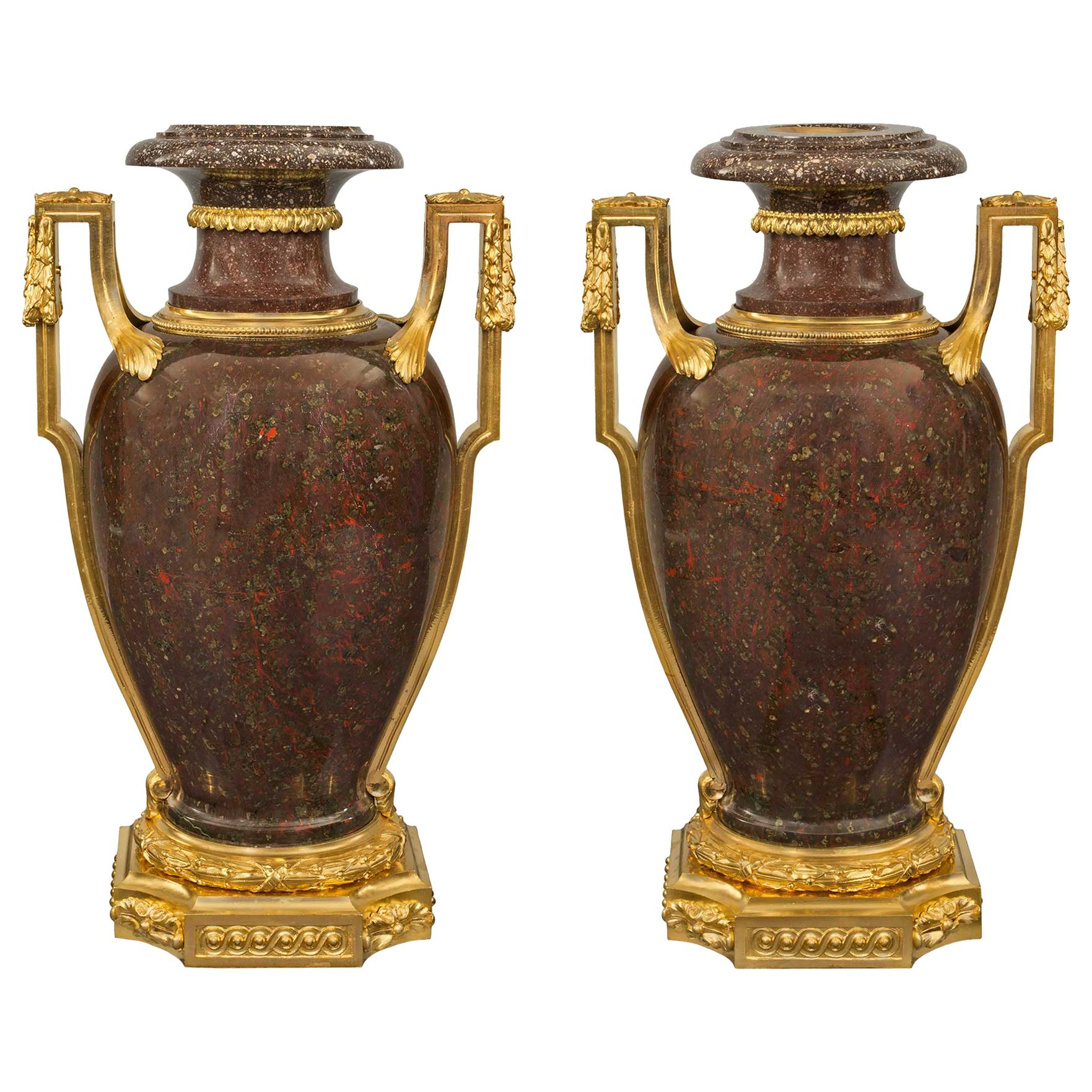 French Early 19th Century Louis XVI Style Porphyry and Ormolu Urns