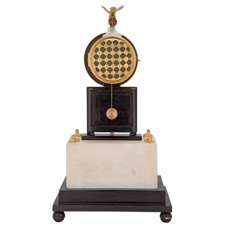 French Early 19th Century Marble and Ormolu Quarter Strike Clock with Sundial For Sale 1