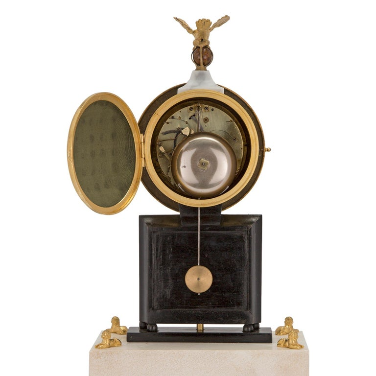 French Early 19th Century Marble and Ormolu Quarter Strike Clock with Sundial For Sale 2