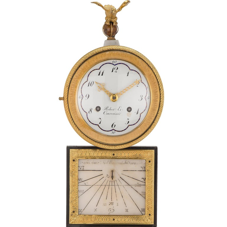 French Early 19th Century Marble and Ormolu Quarter Strike Clock with Sundial For Sale 3