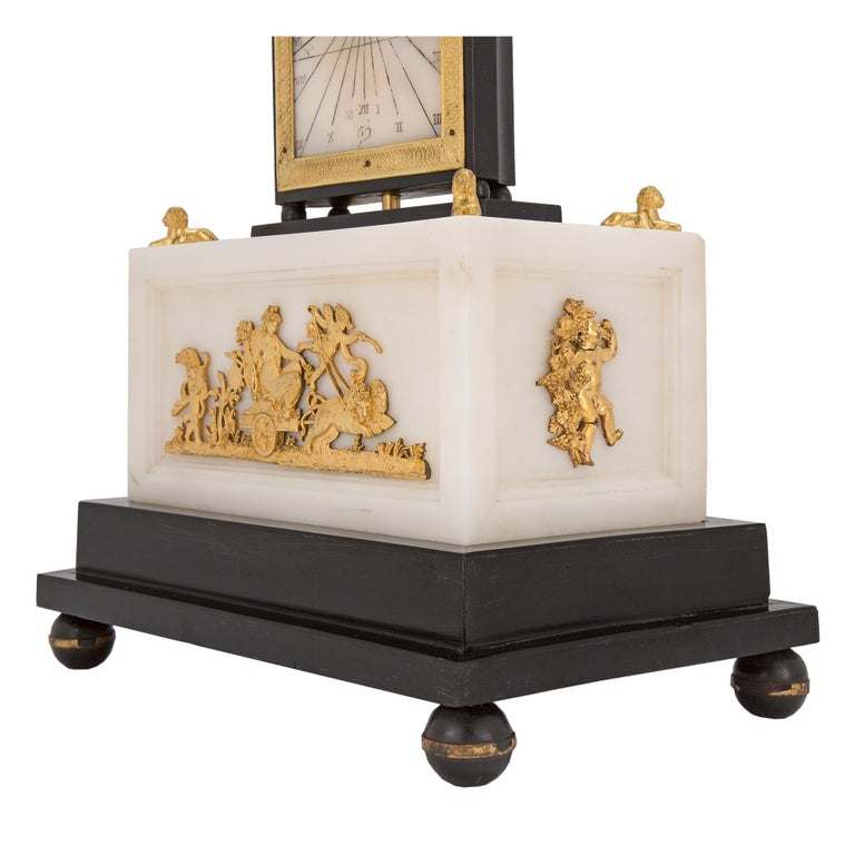 French Early 19th Century Marble and Ormolu Quarter Strike Clock with Sundial For Sale 4