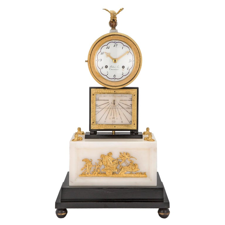 French Early 19th Century Marble and Ormolu Quarter Strike Clock with Sundial For Sale