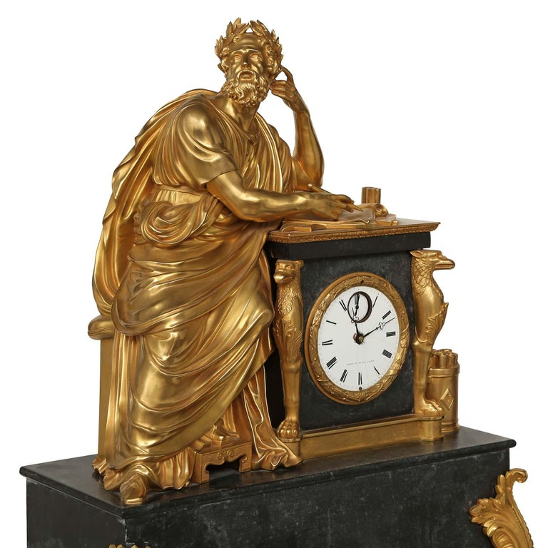 Neoclassical French Early 19th Century Neo-Classical St. Ormolu Mounted on Black Marble Clock For Sale