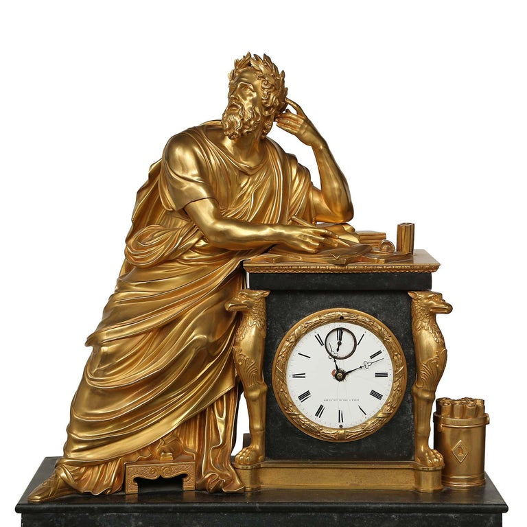French Early 19th Century Neo-Classical St. Ormolu Mounted on Black Marble Clock In Excellent Condition For Sale In West Palm Beach, FL