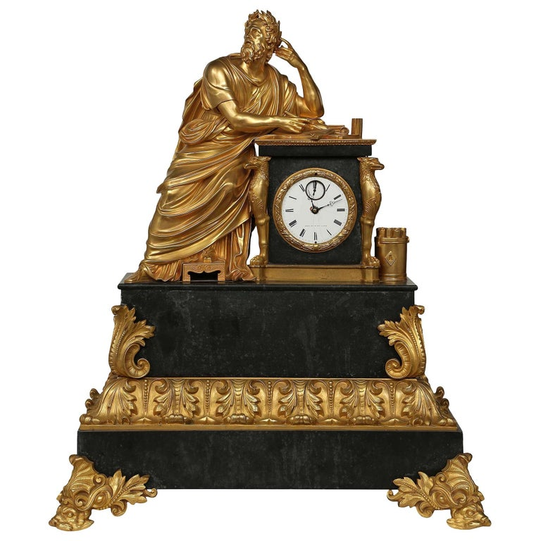 French Early 19th Century Neo-Classical St. Ormolu Mounted on Black Marble Clock For Sale