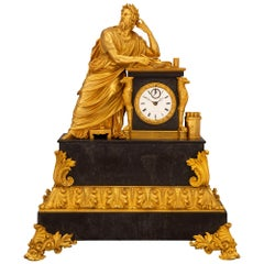 French Early 19th Century Neoclassical St. Ormolu Mounted on Black Marble Clock