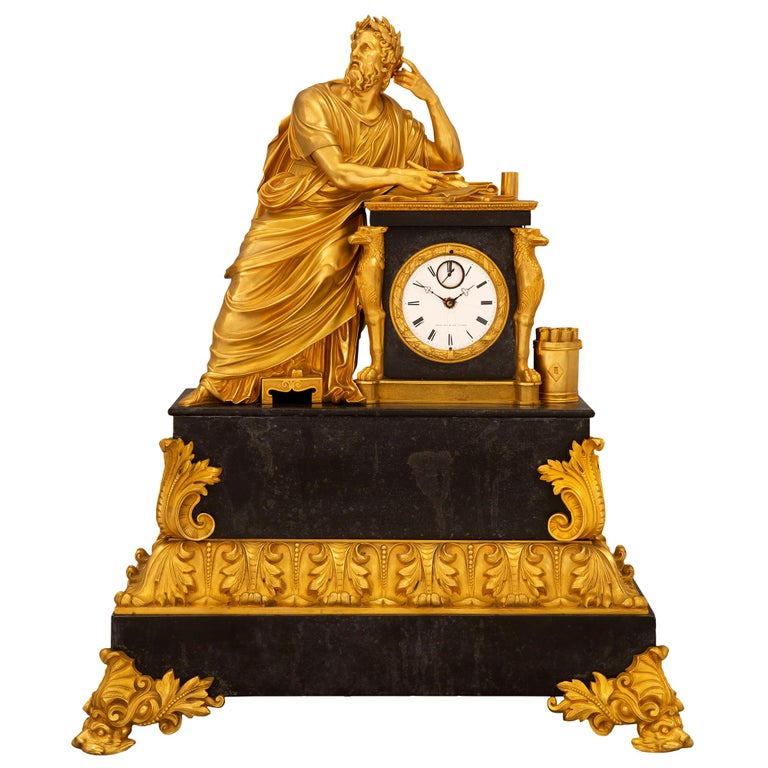French Early 19th Century Neoclassical St. Ormolu Mounted on Black Marble Clock For Sale