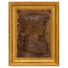 French Early 19th Century Patinated Bronze, Wood, and Giltwood Wall Decor Plaque