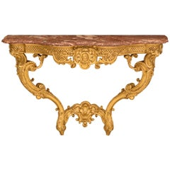 French Early 19th Century Régence St. Giltwood And Rouge Jaspé Marble Console