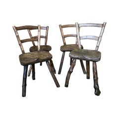 French Early 19th Century Set of 4 Primitive Chairs