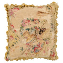 French Early 19th Century Silk and Angora Aubusson Tapestry Pillow with Bust