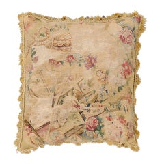 French Early 19th Century Silk and Angora Aubusson Tapestry Pillow with Flowers