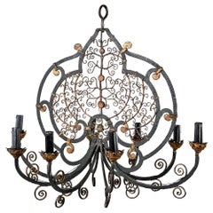 French Early 20th Century Eight-Arm Iron Chandelier