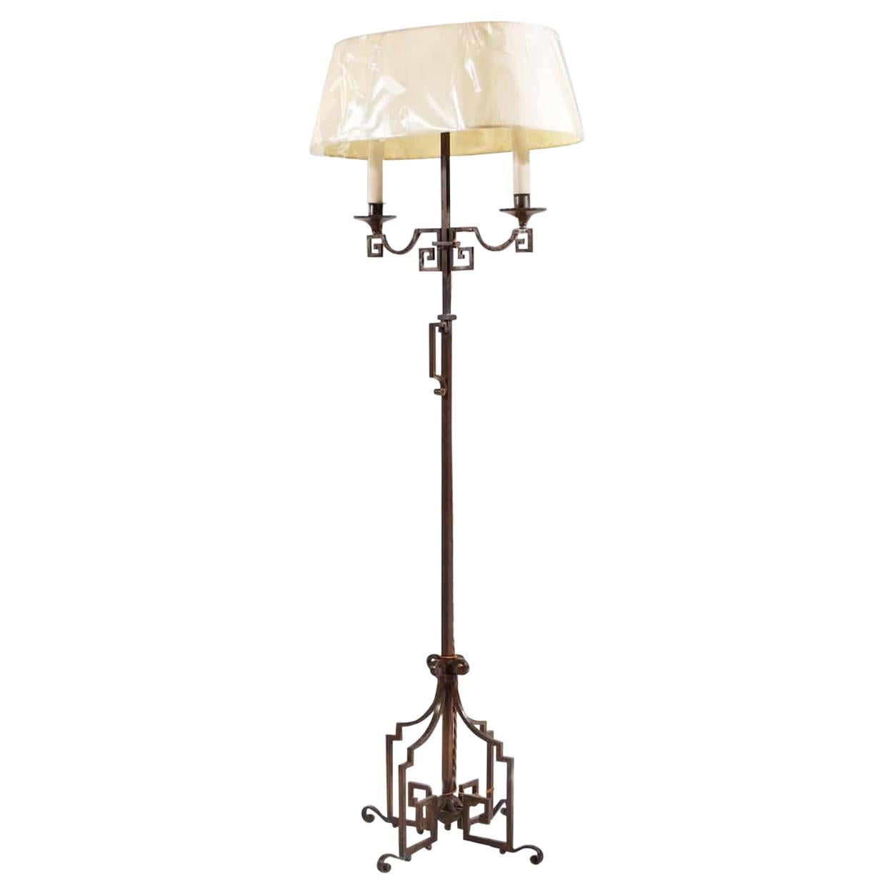 French Patinated Steel Floor Standing Bouillotte Lamp Attributed Jansen