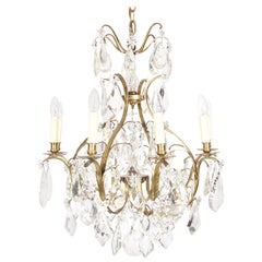 French Early 20th Century Antique Crystal Chandelier with Drops and Stars